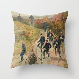 Vintage Bicycle Race 1800s Bike Riders Throw Pillow