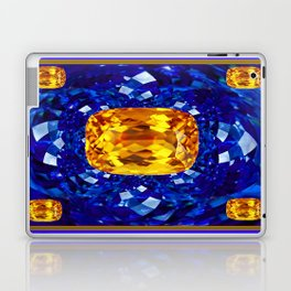 Golden Topaz Birthstones on Glittering Sapphire Blue Art Design Laptop & iPad Skin