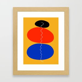 Zen minimal abstract art yellow blue red black Framed Art Print