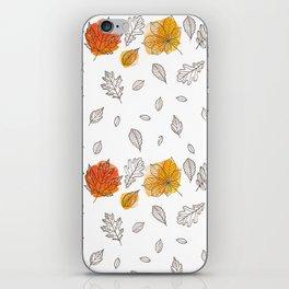Fall orange gold hand drawn black white leaves iPhone Skin
