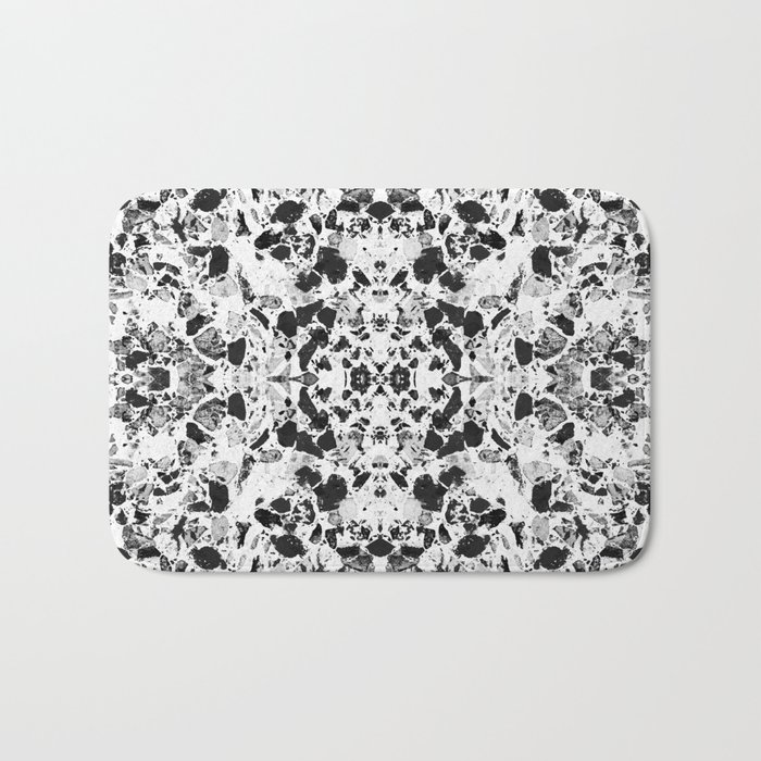 Beautiful Black and White Terrazzo Tile Bath Mat