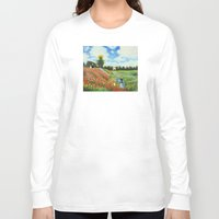 monet Long Sleeve T-shirts featuring Claude Monet - Poppy Field at Argenteuil by Elegant Chaos Gallery