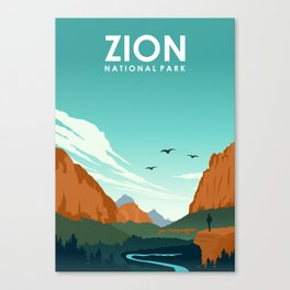 Zion National Park Travel Poster Canvas Print