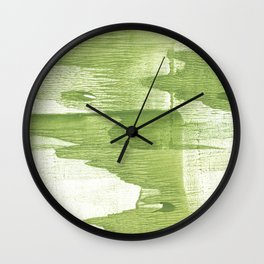 Green stained watercolor design Wall Clock