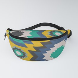Ethnic in blue, green and yellow Fanny Pack