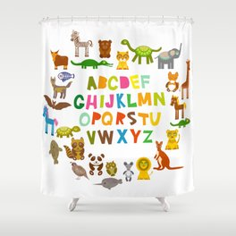 back to school. alphabet for kids from A to Z. funny cartoon animals Shower Curtain