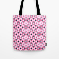 Pink and Navy Blue Diamonds Ikat Pattern Tote Bag