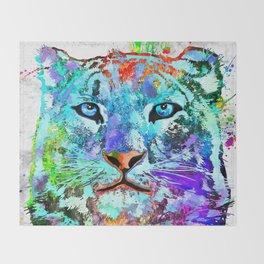 Snow Leopard Grunge Throw Blanket
