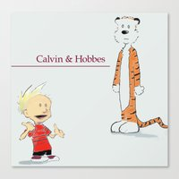 calvin hobbes Canvas Prints featuring Calvin and Hobbes by MozaicPieces