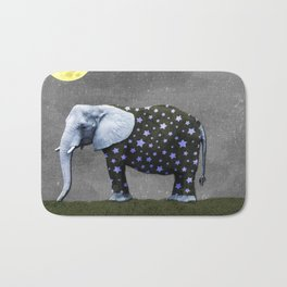 Elephant Under the Moon Bath Mat