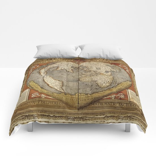 Heart-shaped projection map by Oronce Fine, 16th century Comforters