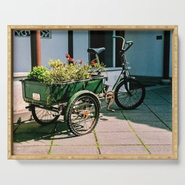 Photograph of a Tricycle with a Large Basket of Flowers in the Back, Vancouver Botanical Garden Serving Tray