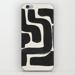 Black Ink Paint Brush Strokes Abstract Organic Pattern Mid Century Style iPhone Skin