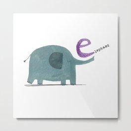 E is for Elephant Metal Print