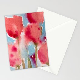 Tulips in watercolor Stationery Cards