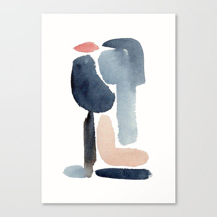 Navy Blue Minimal Figure Canvas Print