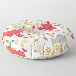 Seafood Spread with Flowers Floor Pillow