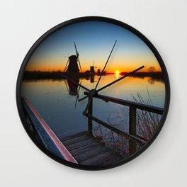 Kinderdijk windmill, UNESCO world heritage site Wall Clock