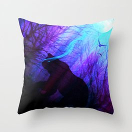 Grizzly Moon: Ultraviolet Throw Pillow