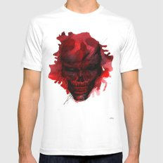 Red Skull White MEDIUM Mens Fitted Tee