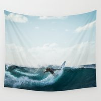 surfing Wall Tapestries featuring Surfing  by Limitless Design