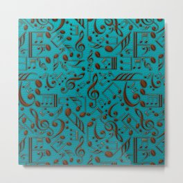 Faux Leather Embossed Musical notes on teal Metal Print