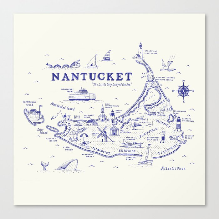 Nantucket Map Canvas Print By Ryanorourke Society6