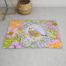 Spring Chickadee in Flowery Woodland Wreath Rug