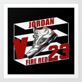 aj5 FIRE RED ShoeBox illustration Art Print