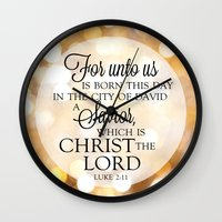 scripture Wall Clocks featuring For Unto Us... Christmas Scripture Luke 2:11 by Misty Diller of Misty Michelle Design