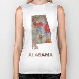 Alabama map outline Rosy brown clouded wash drawing painting Biker Tank