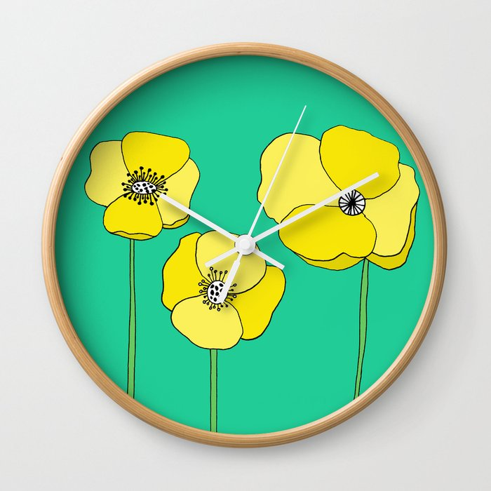 Bright Yellow and Mint Green Poppies Growing and Thriving Wall Clock by  emmafreemanart