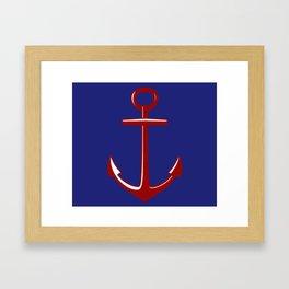 Nautical Anchors on Blue Framed Art Print