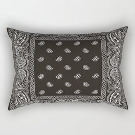 Paisley - Bandana - Black -  Southwestern Rectangular Pillow