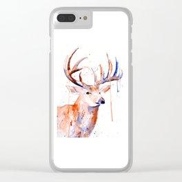 Deer Art Watercolor painting Clear iPhone Case