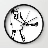 lacrosse Wall Clocks featuring Lacrosse girl by laxwear