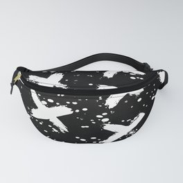X Paint Spatter Black and White Fanny Pack