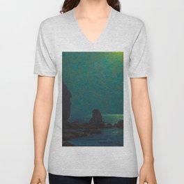 Granville Redmond Catalina Island Coast Under a Moonlit Sky Oil Painting Vintage American Art Unisex V-Neck