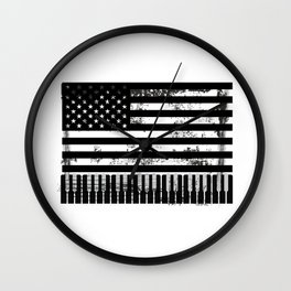 Usa American Flag Piano Keyboard Keys Wall Clock