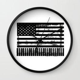 Usa American Flag Piano Keyboard Keys Wall Clock