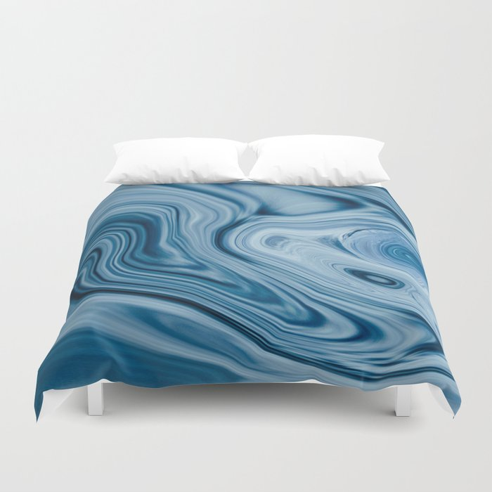 Splash of Blue Swirls, Digital Fluid Art Graphic Design Duvet Cover