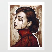audrey Art Prints featuring Audrey  by Olechka
