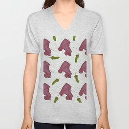 Pink and roll Unisex V-Neck