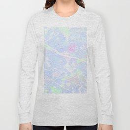 Pastel Blue Graffiti Marble Long Sleeve T-shirt