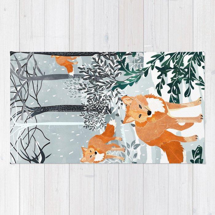 Fox Snow Walk Rug