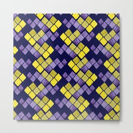 Mozaic pattern in faux gold, yellow, purple and navy indigo Metal Print