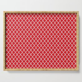 seamless oriental pattern grid , red / white -  traditional morocco  pattern Serving Tray
