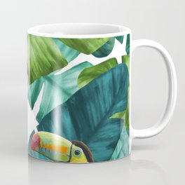 Toucans Tropical Banana Leaves Pattern Coffee Mug