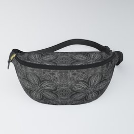 Black Slate Gray Floral Pattern Fanny Pack