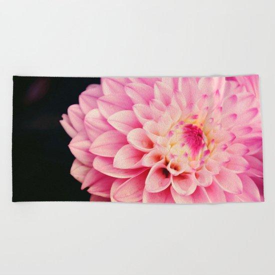 Sweet Pink Dahlia Beach Towel